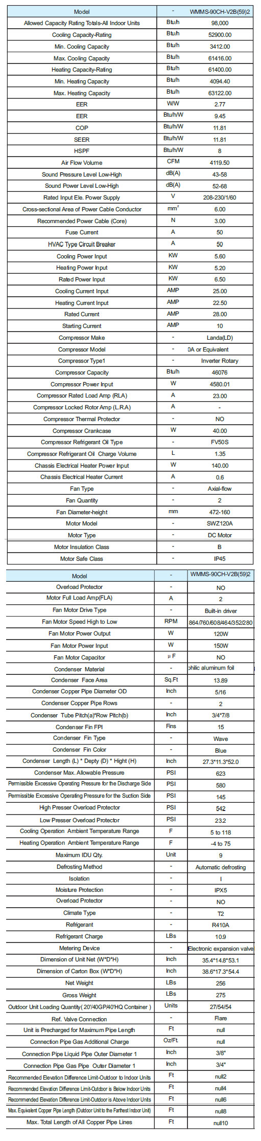 Wmms 90ch V2b592 Ymgi Outdoor Condenser Unit Seer 16 Wmms